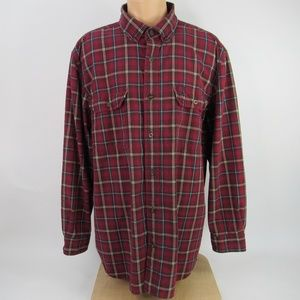 Carhartt Men's Size XL Relaxed Fit Red Plaid Shirt